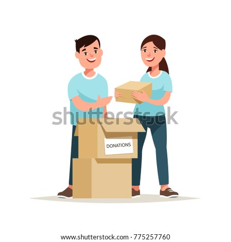 Vector illustration team of volunteers with donate box. Concept charitable activity and mercy