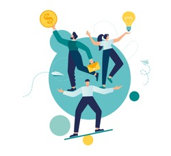 Vector illustration, teamwork and corporate leisure and yoga courses. good balance between idea, time and work. creative metaphor time is money vector