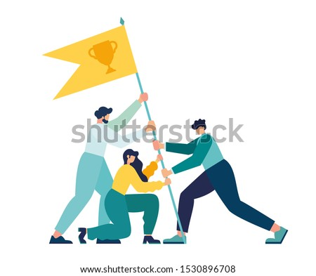 Vector illustration, teamwork, goal achievement, flag as a symbol of success and heights