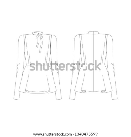 Vector illustration technical sketch drawing Women blouse Fashion Front and back - เวกเตอร์