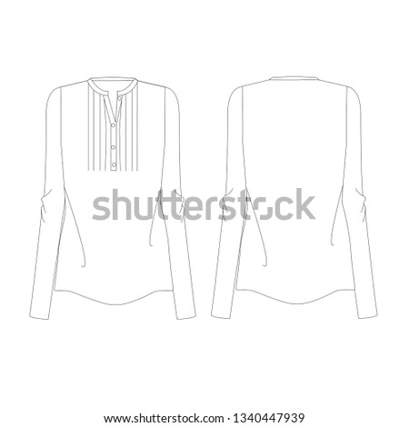 Vector illustration technical sketch drawing Women blouse Fashion Front and back - Vector