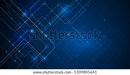 Vector illustration technology with line pattern over dark blue background. Modern hi-tech digital technology concept. Abstract internet communication, future science techno design for background