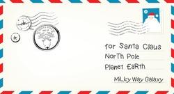 Vector illustration template for a Christmas Letter Envelope