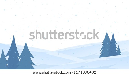 Vector illustration: Template of Christmas greeting card with winter snowy hillside landscape.