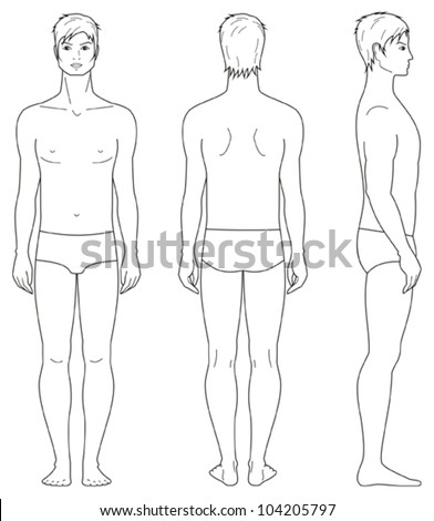 Vector illustration. Template of man's figure. Front, back, side views