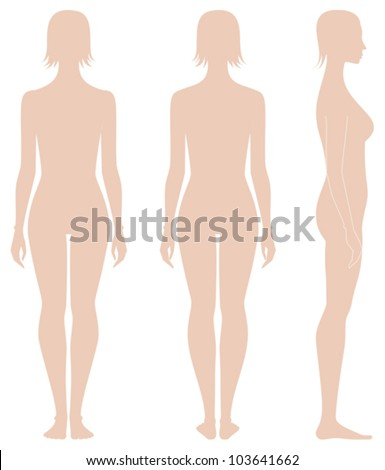 Vector illustration. Template of woman's figure. Front, back, side views. Silhouettes