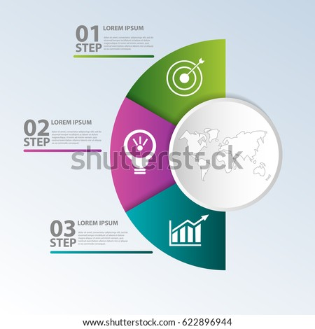 Vector illustration. Template with circle divided into half and three parts for infographics, business, presentations, web design, concept of launching with 3 options, steps, diagram. Text and icons.
