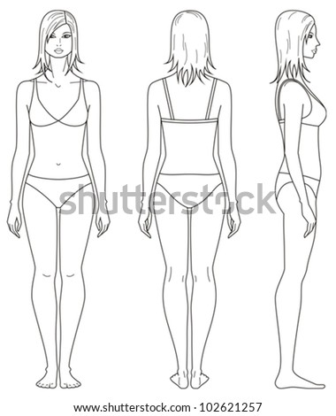Vector illustration. Templates of woman's figure. Front, back, side views