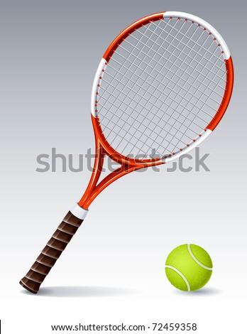 Vector illustration - Tennis racket and ball