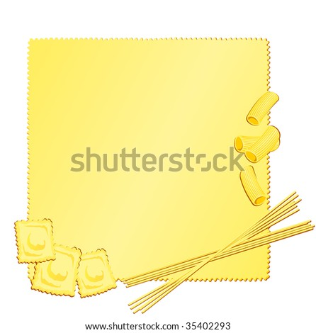 Vector illustration that depicts a puff pastry with some Italian types of pasta as a decoration, forming a lively culinary background