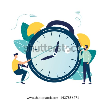 Vector illustration, the alarm clock is ringing on a white background, the concept of working time management, quick response to awakening, transfer of time back vector