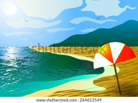 vector illustration the beach
