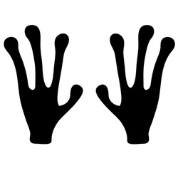 Vector illustration. The black hands  of an alien isolated on white. Hand drawn simple doodle clipart. Space and extraterrestrial theme. Ideal for poster, banner, cards.