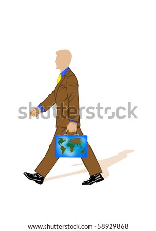 Vector illustration the businessman in a suit with a portfolio