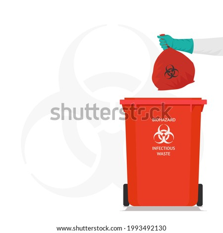Vector illustration,The cleaning Hospital  staff is taking the infected Garbage Bags, Dispose of in the marked trash Biohazard Infectious Waste Symbol Sign, Coronavirus (covid-19)