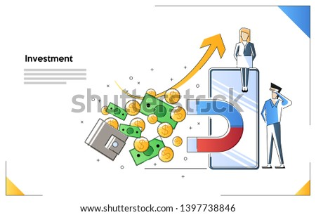 Vector illustration, the concept of attracting investment, the magnet of success, the attraction of money. profitable income.