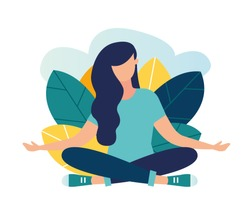 Vector illustration, the concept of meditation, the health benefits for the body, mind and emotions, the girl sits in the lotus position, the thought process, the inception and the search for ideas