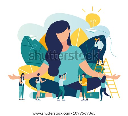 Vector illustration, the concept of meditation, the health benefits for the body, mind and emotions, the girl sits in a lotus pose surrounded by people, the thought process, the inception and the sear