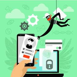 Vector illustration. The concept of protection and security. A hacker is trying to hack personal data on a smartphone.