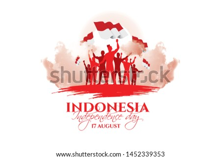 vector illustration. the feast of the August 17 Independence Day of Indonesia. symbolic red colors and people silhouettes with flag