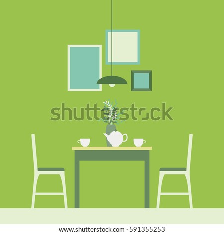 Vector IllustrationThe Interior Of The Dining RoomDining Table And Two Chairs