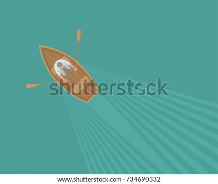 Vector illustration. The man in the boat. Top view. Fisherman. View from above.