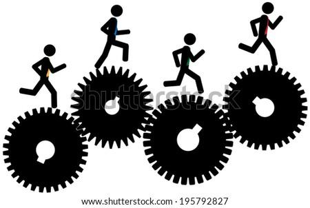 Vector / illustration.The men are running on gears. stock photo