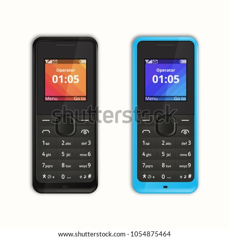 Vector illustration. The picture shows phone 2013 released. Mobile Phone with buttons isolated on white background.