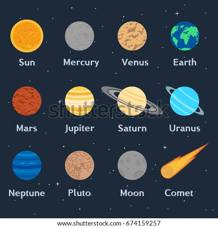 Vector illustration. The planets of the solar system, the comet and the moon. Sun, Mercury, Venus, Earth, Mars, Jupiter, Saturn, Uranus, Neptune, Pluto. Astronomical poster, icons.