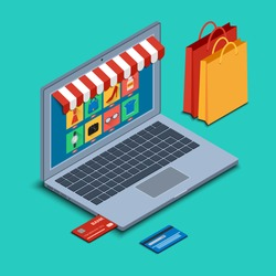 Vector illustration. The screen of an open laptop with online shopping icons and buttons. Bank cards and bags. Isometric, 3D.