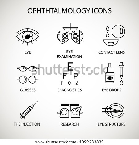Vector illustration. The set of medical ophthalmology icons. Special medical facilities and equipment associated with eye research and diagnostics.