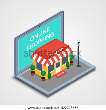 Vector illustration. The store building with a lantern and plants in pots on the laptop keyboard. Concept for online shopping. Isometric icon, 3D.