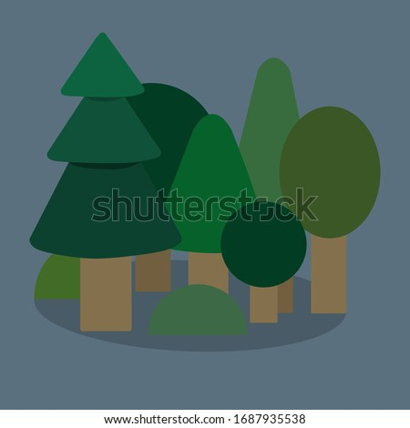 Vector illustration. The trees in the forest.