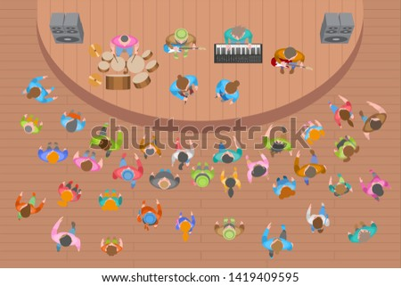 Vector illustration. Theatre hall with spectators. (top view) Band performs on stage, music concert. (view from above)