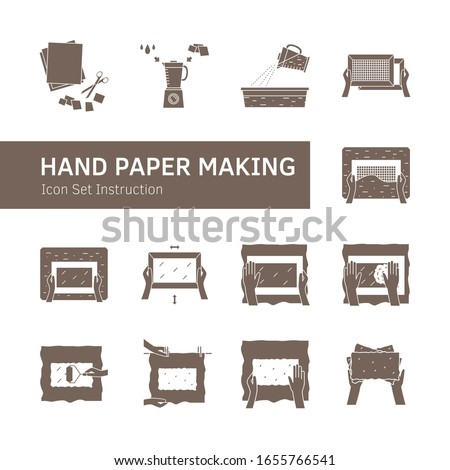 Vector illustration. Thin line icons of hand papermaking process. Related for logo, instruction, handmade paper workshop. Including mould and deckle, pulp, slurry, pressing, drying. Linear symbols set
