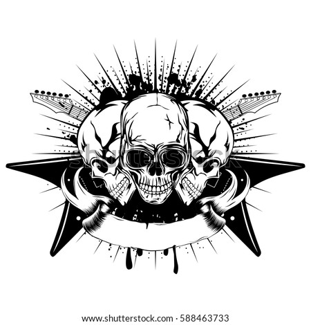 vector illustration three skull