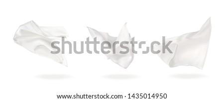 vector illustration three white flying napkin