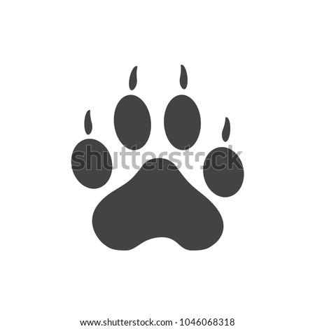 Vector illustration. Tiger Paw Prints Logo. Black on White background. Animal paw print with claws.