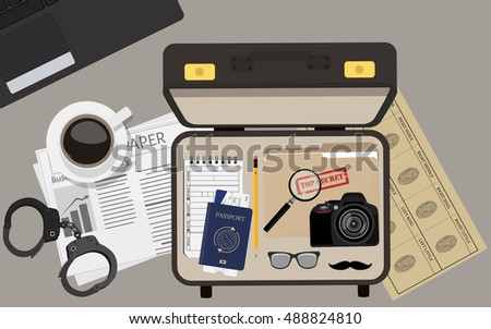 Vector illustration top view detective briefcase with camera, passport and ticket, glasses and mustache, file folder with top secret and notepad. Background, wallpaper detective table.
