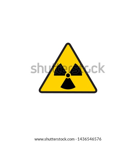 Vector illustration toxic sign, symbol. Warning radioactive zone in triangle icon isolated on white background. Radioactivity. Dangerous radiation area symbol. Chemistry poison plane mark Сток-фото ©