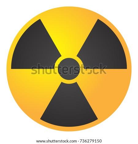 Vector illustration toxic sign, symbol. Warning radioactive zone triangle icon isolated on white background Radioactivity Dangerous radiation area symbol yellow black. Chemistry poison plane mark 3d.