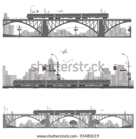 Vector illustration.Train on a bridge .City scape silhouette