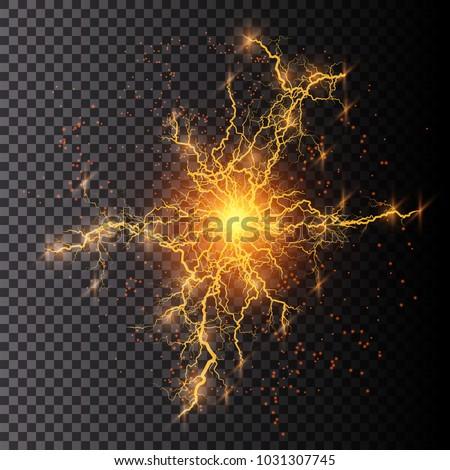 Vector illustration. Transparent light effect of electric ball lightning. Magic plasma energy.