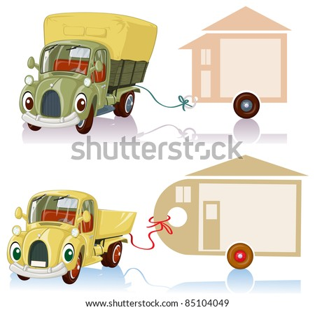 Vector illustration, transportation company label, banner concept, white background.