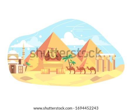 Vector illustration travel and landmark Egypt. Egypt landmarks and travel place, Pyramid of Egypt, History landmarks. Egyptian landmark pyramid architecture. Vector illustration in flat style