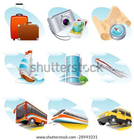 Vector illustration - travel icon set - stock vector