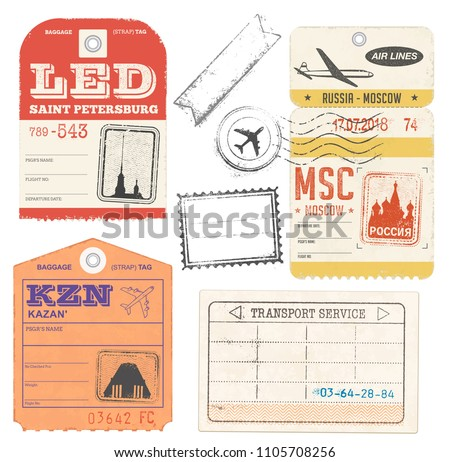 Vector Illustration Travel Luggage tags Collection with russian Cities as destination
