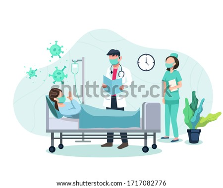 Vector illustration Treatment of patients exposed to covid-19 virus. Doctor and nurse examine patient, Treat patients with symptoms of corona virus. Coronavirus positive patient. Vector in flat style