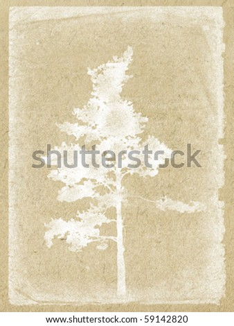 vector illustration tree on old paper