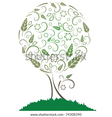 Vector illustration. Tree with leaves, flowers and ears